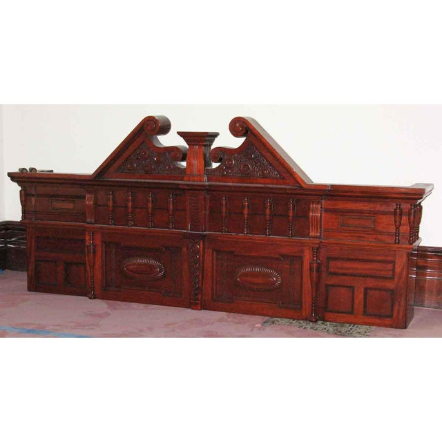 Early 20th Century Carved Mahogany & Tile Mantel For Sale - Image 5 of 10