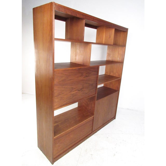 Mid-Century Walnut Bookcase or Wall Unit For Sale - Image 4 of 13