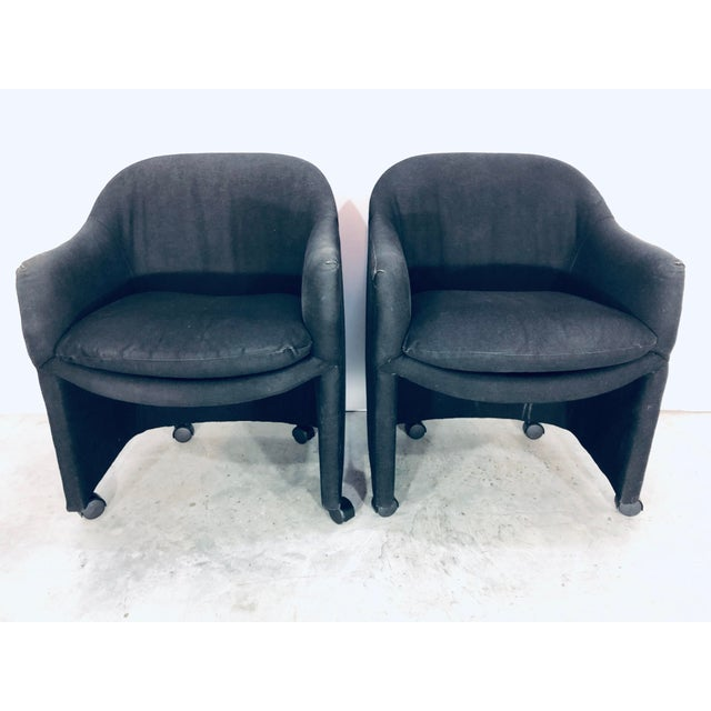 Thayer Coggin Black Denim Dining Arm Chairs- a Pair For Sale - Image 13 of 13