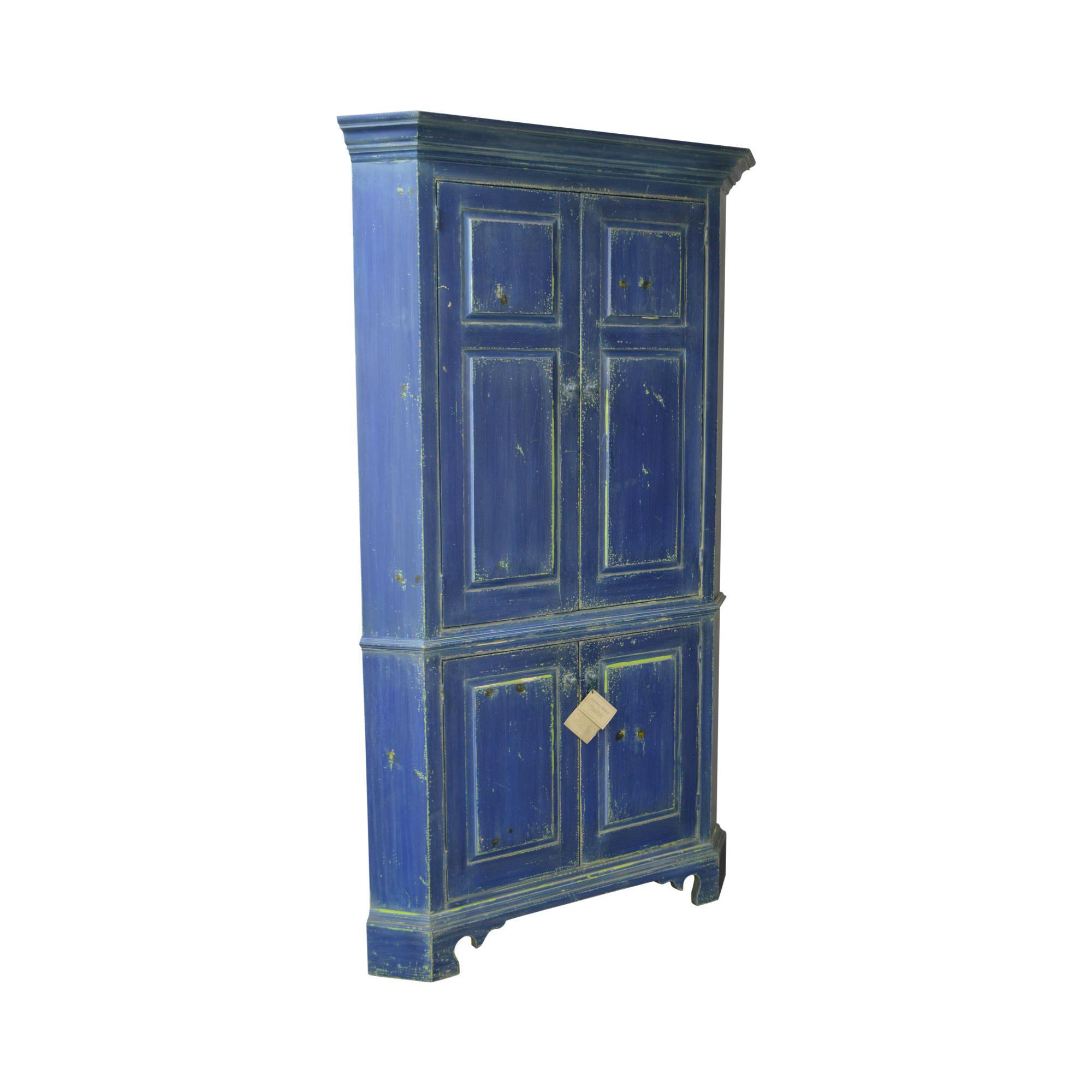 William Draper Country Classics Custom Made Blue Painted Corner Cabinet Cupboard  sc 1 st  Chairish & William Draper Country Classics Custom Made Blue Painted Corner ...