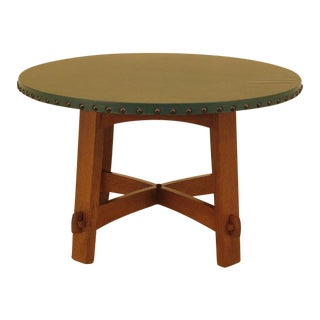 Stickley Round Green Leather Top Mission Oak Dining Table For Sale