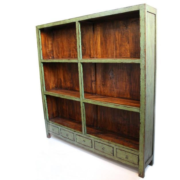 Antiqued green crackled lacquer patina display shelf with five drawers. Made from sturdy recycled elm wood.