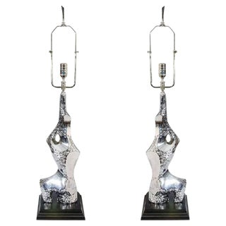BRUTALIST PAIR OF CHROME TABLE LAMPS BY LAUREL, CIRCA 1970 For Sale