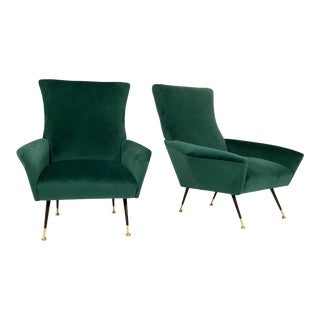 Italian Green Armchairs - a Pair For Sale