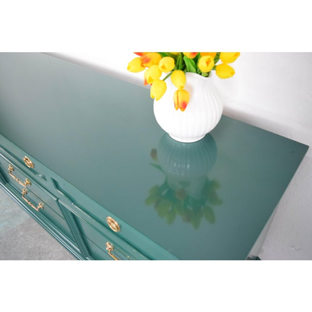 Late 19th Century 19th Century Modern Hunt Club Gloss Lacquer Green Dresser For Sale - Image 5 of 10