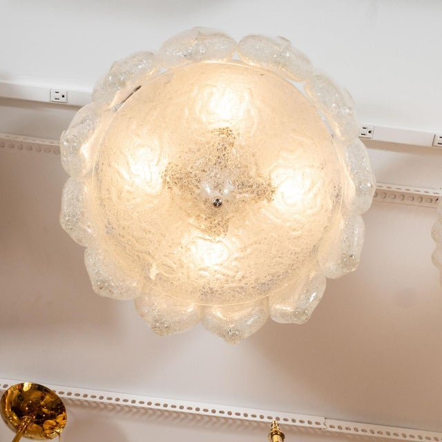 Vintage Icy Glass Flush Mount Ceiling Fixture For Sale - Image 4 of 5