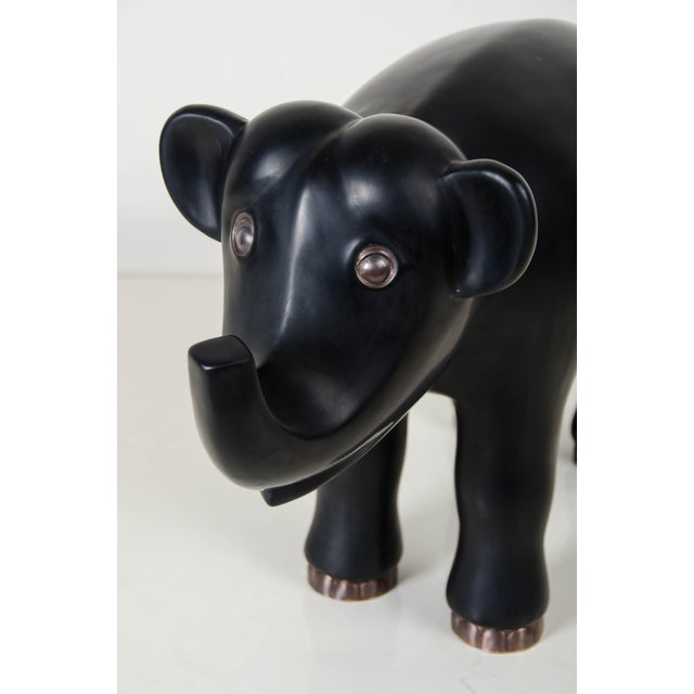 Boho Chic Hand Repousse Black Lacquer Elephant by Robert Kuo, Limited Edition For Sale - Image 3 of 7