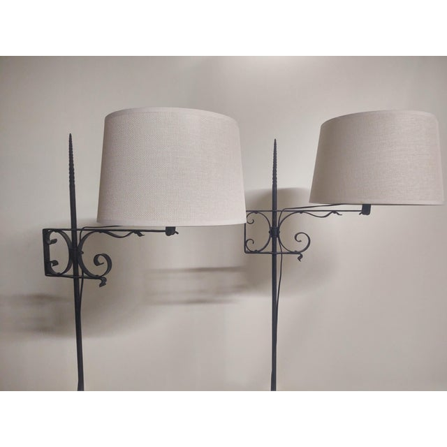 Spanish Hand Wrought Floor Lamps- a Pair For Sale - Image 9 of 13
