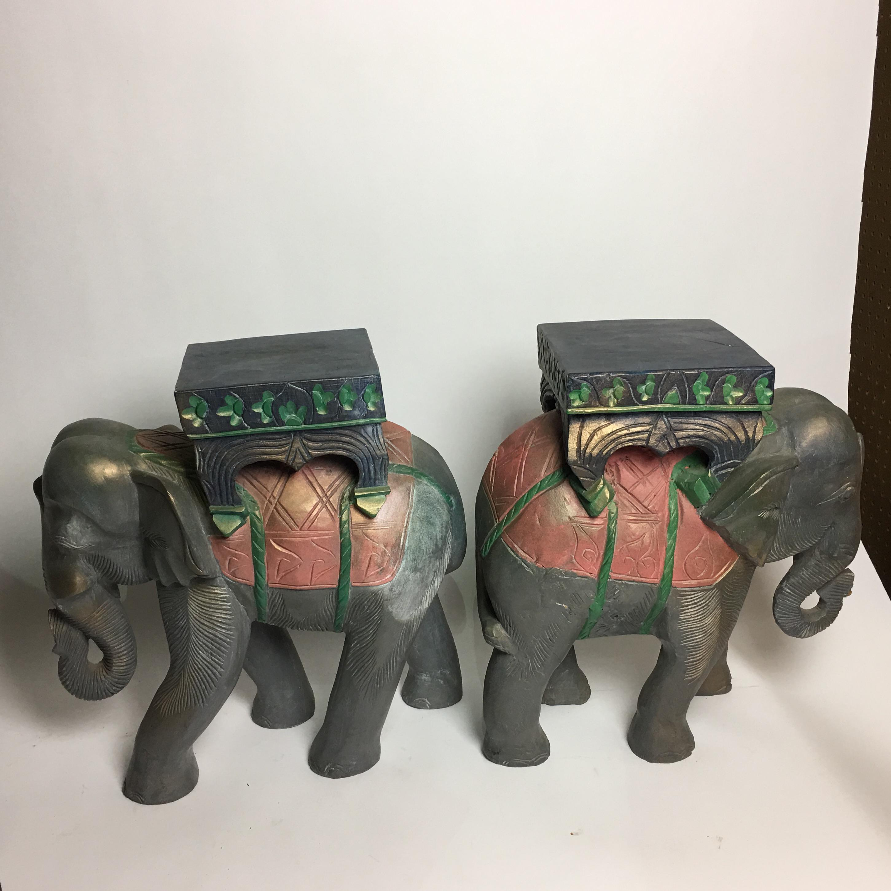 Elephant Carved Wood Garden Stool Tables   A Pair   Image 3 Of 11