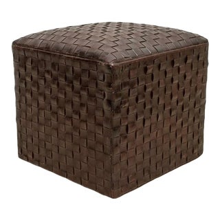 Modern Woven Leather Ottoman Stool For Sale