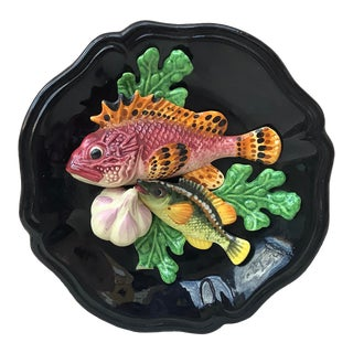 Majolica Fish Wall Platter Vallauris Circa 1950 For Sale