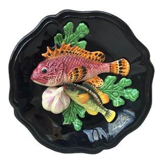 Majolica Fish Wall Platter Vallauris Circa 1950 For Sale