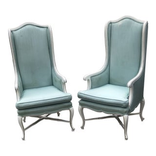1960s Vintage French Sea-foam Green Upholstered High Back Chairs- A Pair For Sale