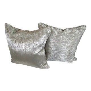 Custom Silver & Taupe Accent Pillows - A Pair For Sale