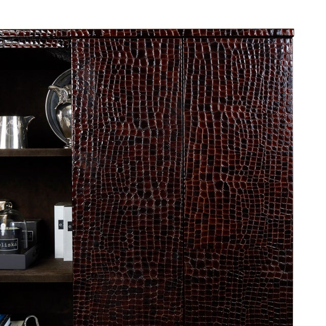 Art Deco Art-Deco Inspired Contemporary Patent Leather Crocodile Print Cabinet With Suede For Sale - Image 3 of 6