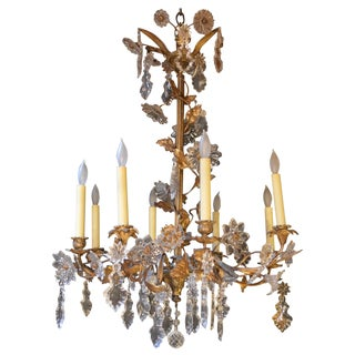 Floral Detail Brass and Crystal Chandelier For Sale