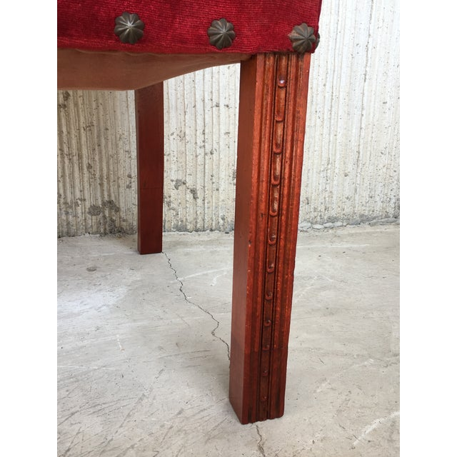 19th Century Spanish Revival High Back Armchair With Red Velvet Upholstery For Sale - Image 11 of 13