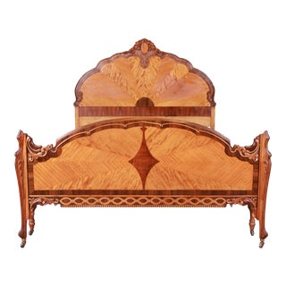 French Art Deco Carved Walnut and Satinwood Full Size Bed, Circa 1930s For Sale