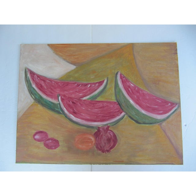 Mid-Century Modern Mid-Century Still Life Painting of Watermelon and Pomegranate For Sale - Image 3 of 8
