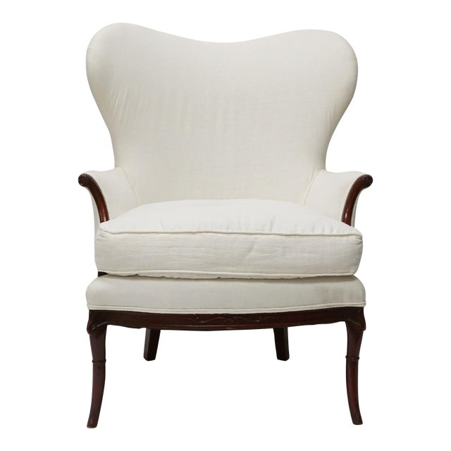 Antique White Wingback Chair - Image 1 of 5