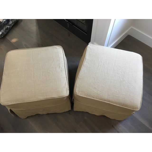 Linen Covered Ottomans - Pair - Image 2 of 6