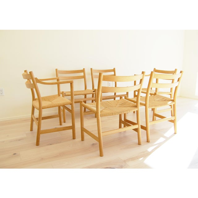 1965 Hans Wegner for Carl Hansen & Son Oak Dining Armchairs - Set of 6 For Sale - Image 11 of 13