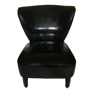Contemporary Faux Crocodile Vinyl Chair