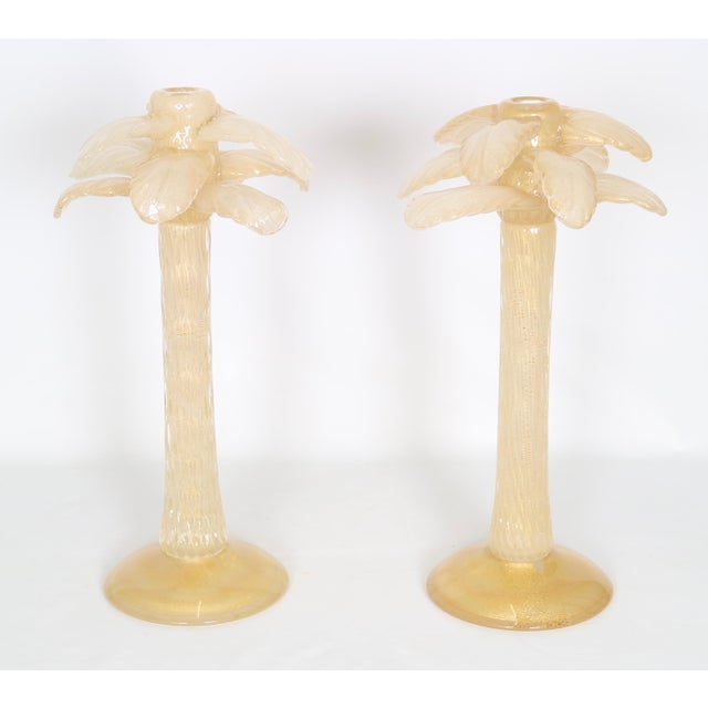 Hollywood Regency Vintage Cenedese Hollywood Regency Murano Glass and Gold Candle Holders- A Pair For Sale - Image 3 of 8