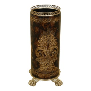 Maitland Smith Embossed Textured Umbrella Stand W. Brass Feet For Sale