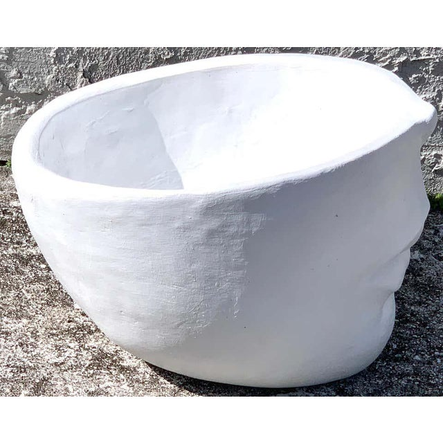 Modern Modern Cast Stone Half Face Planter For Sale - Image 3 of 7