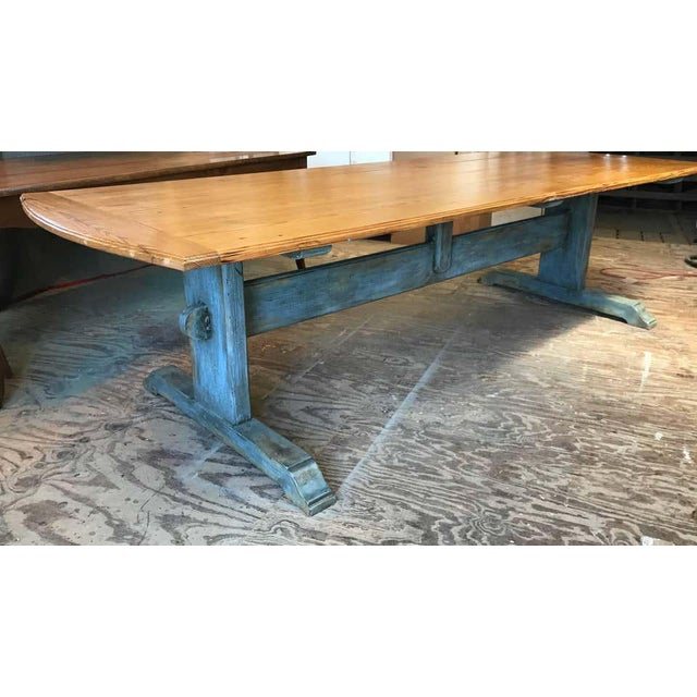 """Large 19th Century Scandinavian painted trestle table with rounded cleated ends. Scandinavian """"Scots"""" Pine with a rich..."""