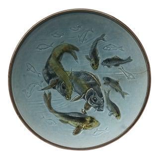 Austrian Majolica Fish Plate Circa 1890 For Sale