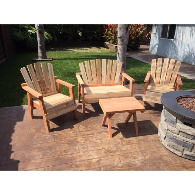 Natural Redwood Patio Set - Set of 4 - Image 11 of 11