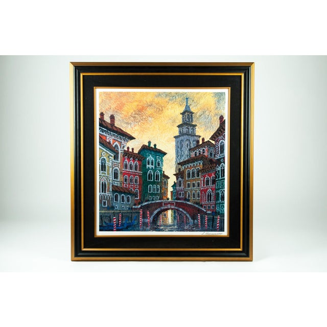 Contemporary Cityscape Wood Framed Watercolor Painting For Sale - Image 3 of 10
