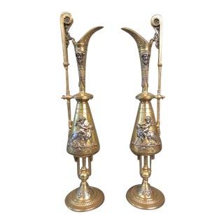 Dore and Silver Over Bronze Figural Urns - a Pair For Sale