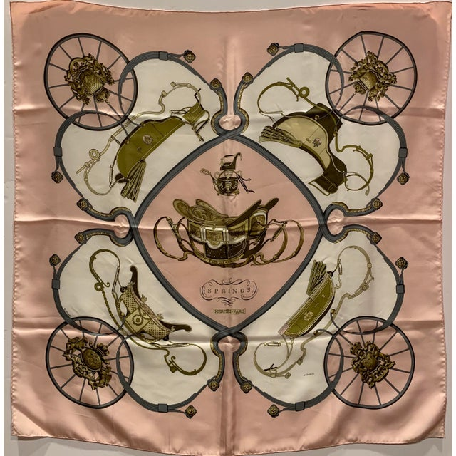 """Hermes """"Springs"""" Equestrian Themed Silk Scarf For Sale In Greensboro - Image 6 of 6"""