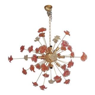 Contemporary Murano Glass Sputnik Flower Chandelier For Sale