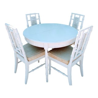 Vintage Omega Cream Fretwork Faux Bamboo 4 Chairs and Round Table Dining Room Set For Sale