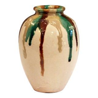 Awaji Pottery Art Deco Vase in Tricolor Drip Glaze For Sale