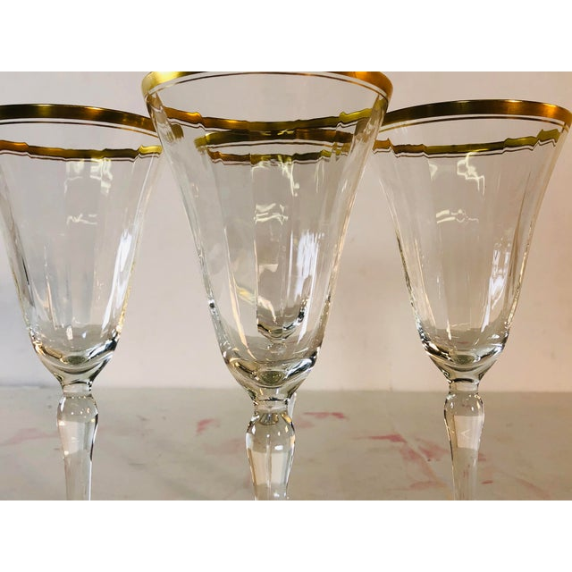 1950s Hollywood Regency Double Gold Rim Champagne Stems, Set of 4 For Sale - Image 5 of 10