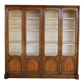 Baker Regency Style Walnut 2 Door Display Wall Cabinets - a Pair For Sale