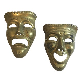 Brass Theater Masks - A Pair