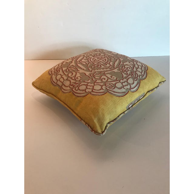 Asian Chinoiserie Yellow Manuel Canovas Medallion Pillow For Sale - Image 3 of 5