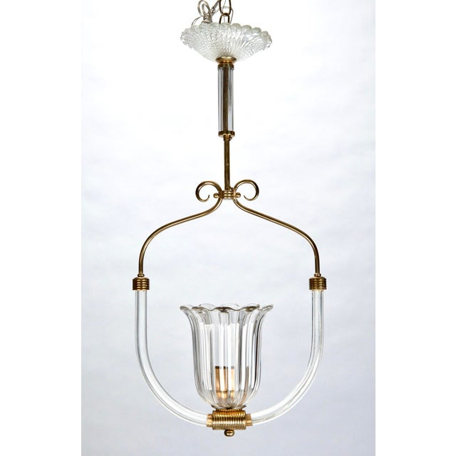 Barovier and Toso Art Deco Era Glass and Brass Pendant Fixture - Image 2 of 4