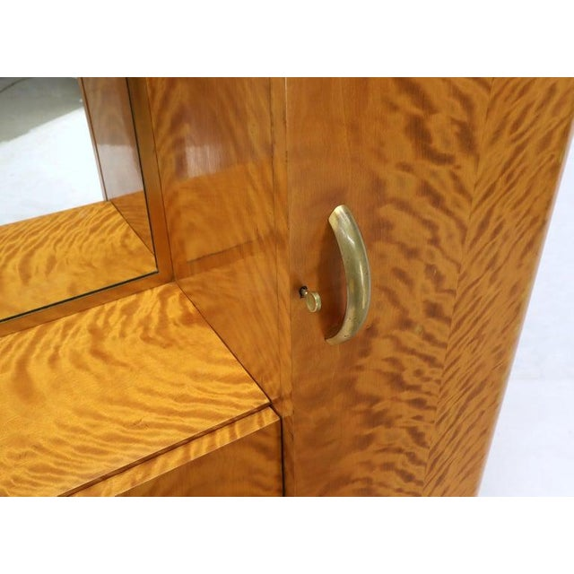 1940s French Art Deco Chifforobe Dresser With Mirror Closet Cabinet Tiger Maple For Sale - Image 5 of 13