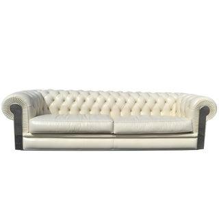 Fendi Casa Albino Tufted Leather Sofa in Chesterfield Style
