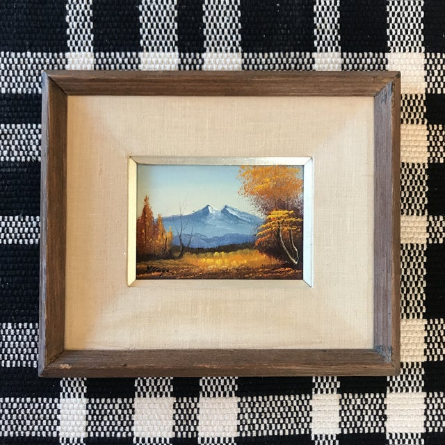 Blue Vintage Landscape Mountain Painting Signed For Sale - Image 8 of 8