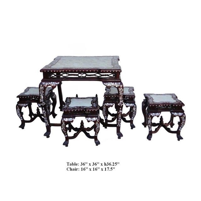 Chinese Square Shape Rosewood Mother Pearl Inlaid Marble Stone - Stone picnic table set