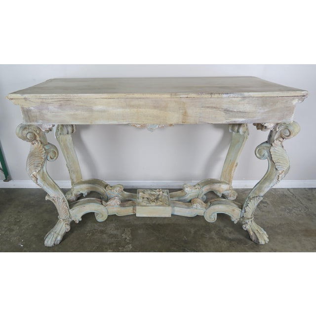 Baroque Early 20th Century French Carved Painted Console Table For Sale - Image 3 of 12