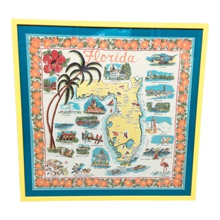 Vintage Florida Scarf in Yellow Frame For Sale